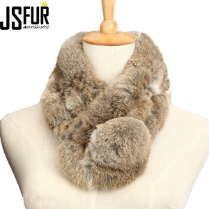winter lady big ball cheap grass rabbit fur collar wholesale short rabbit fur scarf women