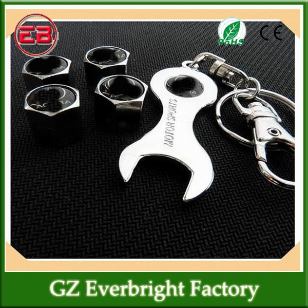 Car tyre valve cap cover 4pcs + wrench key chain with different car logo ,car valve caps