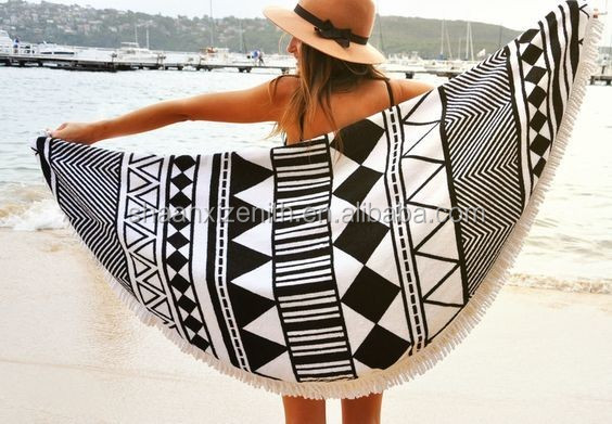 100% cotton round beach towel, very hot sexy photo girls round beach towel, velour reactive printed beach towel with tassels