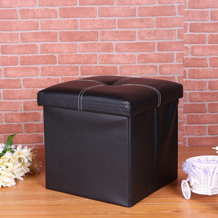 Black leather storage ottoman bedroom bench storage ottoman wholesale