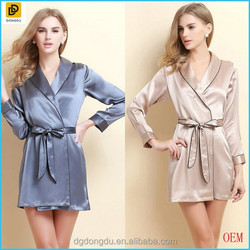 2014 Women Sexy Long Sleeves Silk Robes