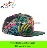 Fashion custom black plain cotton full printed snap back hat