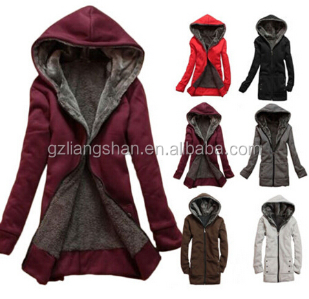 OEM Wholesale Cheap New Women's Lady Clothes Thicken Winter Warm Jacket Coat Hooded Fleece Outerwear
