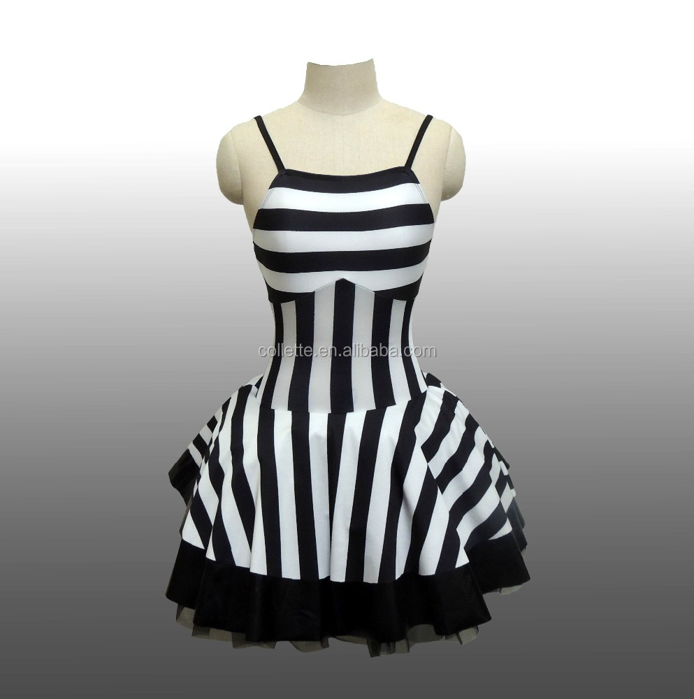 2016 New !! MBQ583 white black stripe leotard party stage dance ballet tutu dress