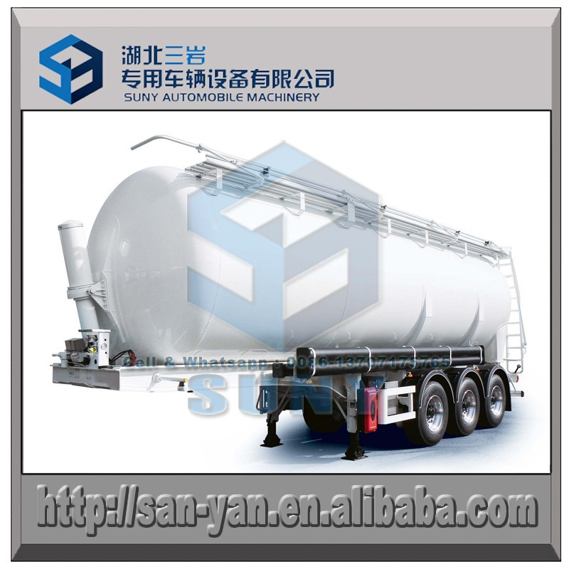 Tri axle tipping shiny aluminum cement tank semi trailer 64 cbm hydraulic lifting tanker