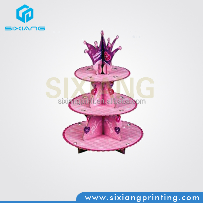 Cardboard Cup Cakes Display Holder 3 Tier For Birthday Party