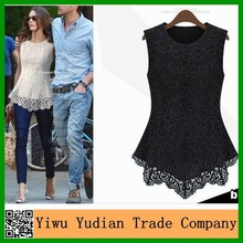 2015 Hot Sell Wholesale Women Sexy Sleeveless Fashion elegant Lace Blouse Top