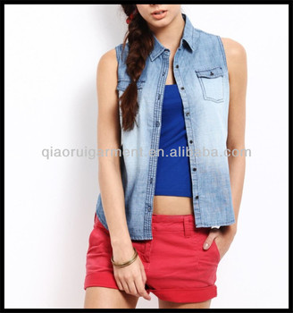 2015 Summer New Design Sleeveless Washed Denim Shirts For Women