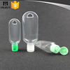 Wholesale 15ml 30ml 50ml 60ml PVC PET PETG material flip top cap pocket sized empty hand sanitizer bottle with carabiner