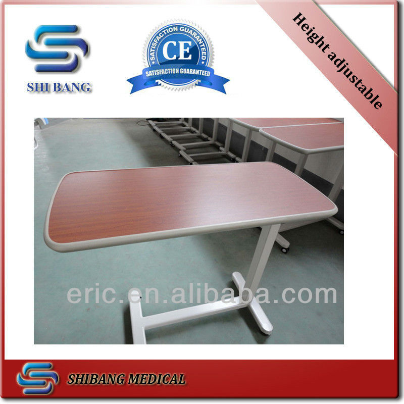 SJ-BST001 hospital adjustable over bed table with wheels