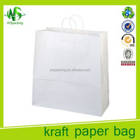 Plain white kraft paper bags with handle