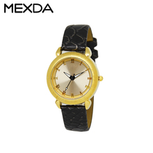 geneva gold case women wrist watch luxury leather strap custom ladies fancy watches with cheap price