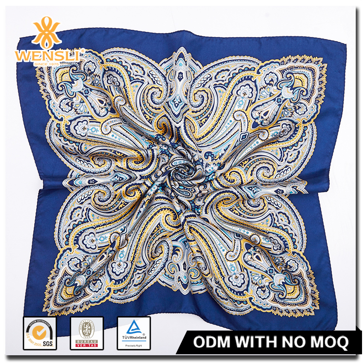 Wensli Blue square Lady Silk Scarf Factory China