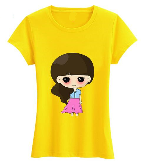 Fashion 100% cotton sweet girls t-shirt with chest print