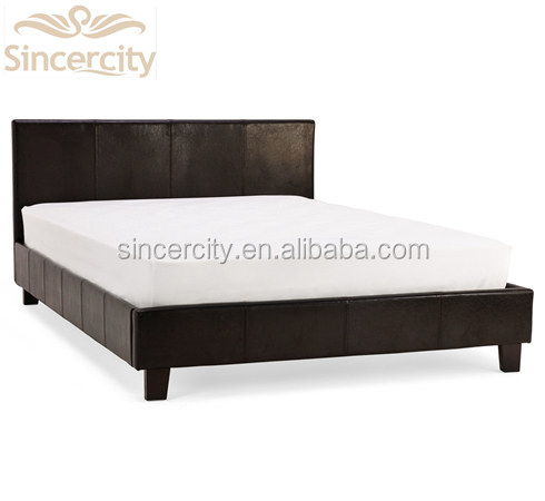 modern design Black Simple style Leather bed black double PU bed Wood and Metal Prado Faux Leather Bed