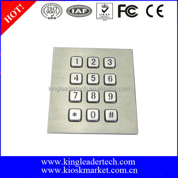 Led backlit metal keypad 3x4 for top mount