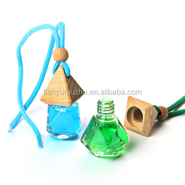 Hot selling diamond sharp empty glass hanging car perfume bottle