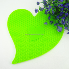 Lover heart cellular shaped Heat Resistant Silicone Pot Holder/Mat/Pad/Trivet/Coaster