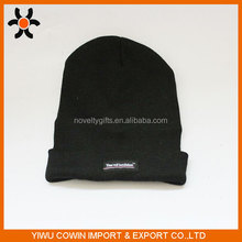 Black custom knitted winter ski cap crochet led beanie hat with forward led flashlight
