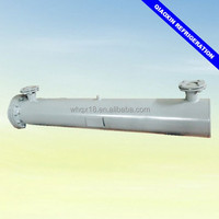 Air handling unit shell and tube heat exchanger for industrial refrigeration