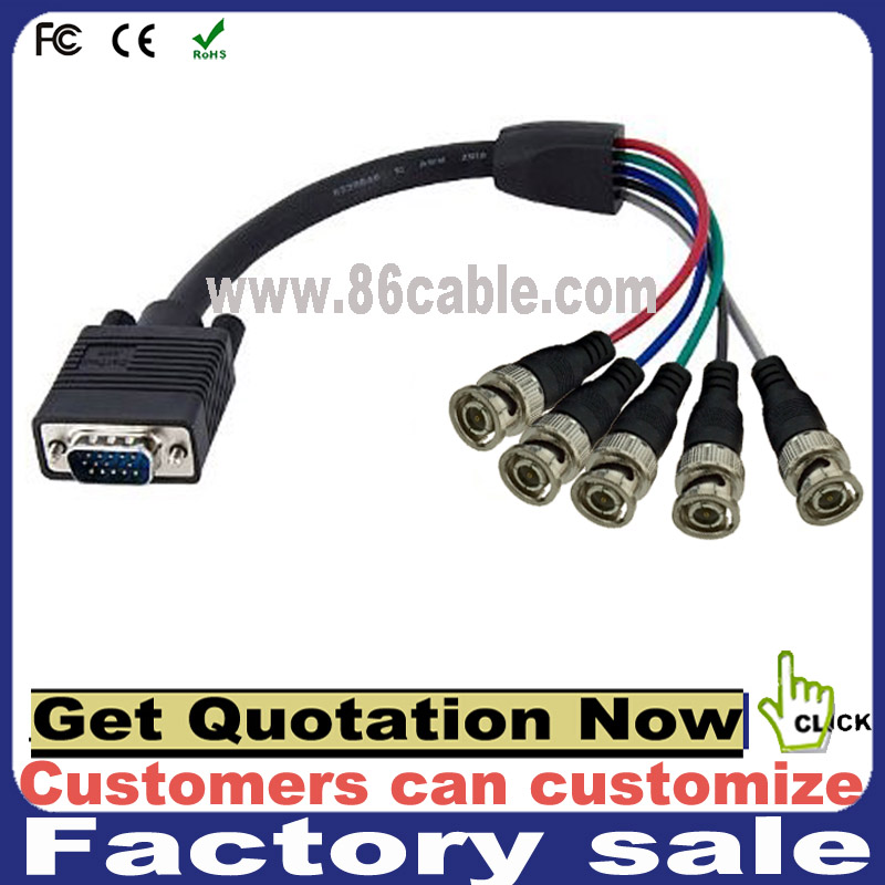 High quality 9pin D-SUB male connector to 5 bnc female adapter cable d-sub to bnc cable
