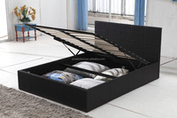 Modern bedroom furniture design black leather beds 2014#