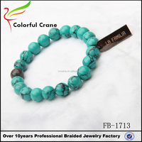 Latest new design turquoise chakra bracelet with customized metal charm