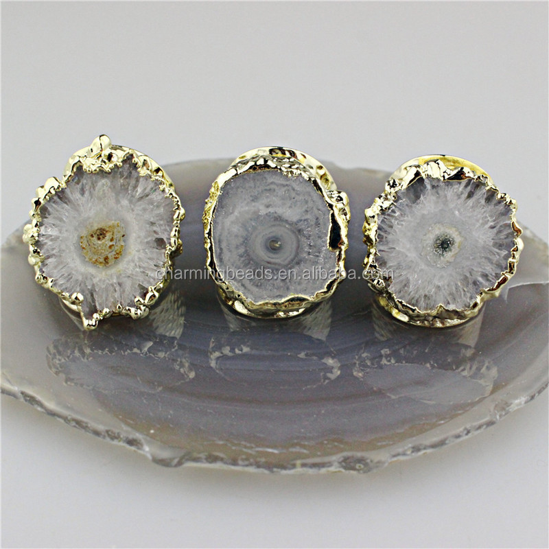 CH-CKR0015 fashion natural druzy ring,irregular drusy with crystal pave charm ring,crystal inlay stone  jewelry cheap wholesale