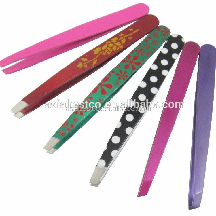Customized Stainless Steel Slanted Tip Eyebrow Tweezers
