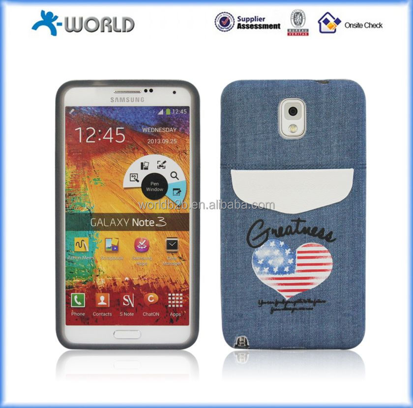 2014 new Factory price! retro Jean Leather Case for samsung Note 3 N9000