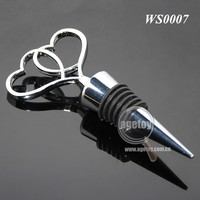 Double Heart Shaped Wholesale Silicone Metal Wine Stopper For Wedding Gift