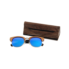Customized your logo glasses boxes wood grain triangle folding sunglasses cases