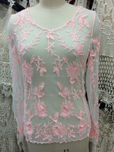 new design fashion elegant grenadine transparent Embroidery Floral Lace blouse