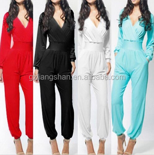 OEM Wholesale Women Sexy V-neck Long Sleeve Solid Bodycon Slim Dress Jumpsuits Pants S/M/L
