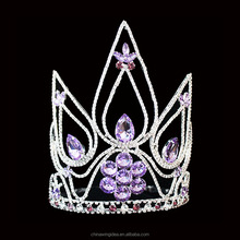 Custom Pruple Rhinestone Beauty Pageant Queen Crown and Tiara For Wholesale