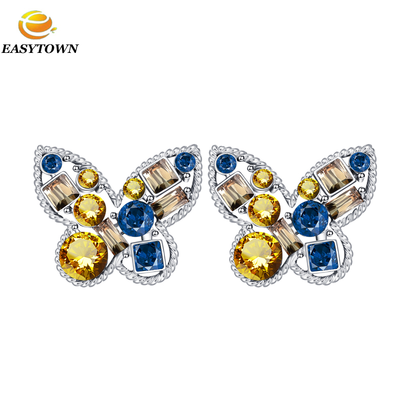 2016 latest butterfly diamond stud <strong>earrings</strong> women <strong>earrings</strong> fashion design