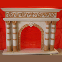 Red Fireplace Arched Stone Fireplaces Carving SF08