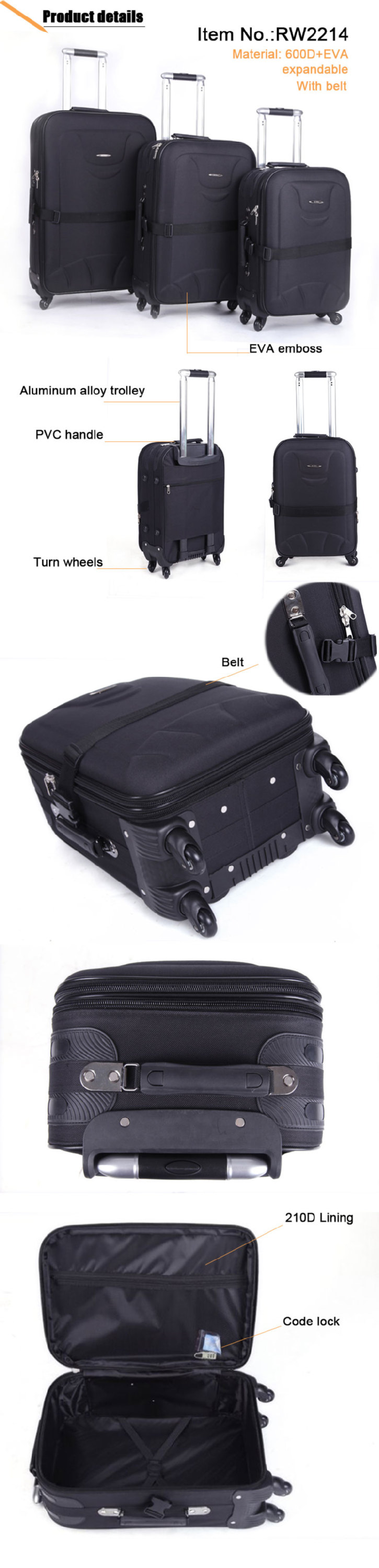 Hot Sale 3 Pcs Set EVA Trolley Case for South American Market