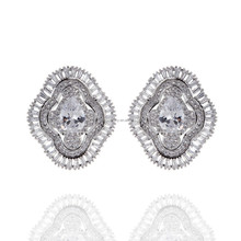 Wholesale Beautiful Flower Earring Platinum Plated Cute Stud Earring For Girls