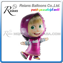 REIANS Customized printed inflatable masha and bear shaped aluminum foil balloons for birthday decoration (accept OEM ODM)