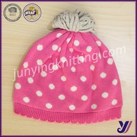 100% Acrylic Crocheted knitting baby beanie cap hats with pom pom china manufacturer