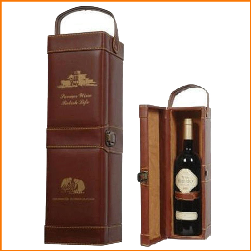 Luxury leather wine box with handle