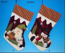 snowman&santa christmas fiber stocking