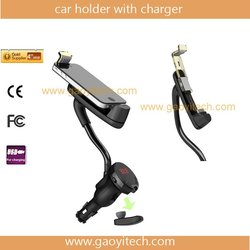 2013 Latest handsfree cell phone holder charger for cars with FM transmitter for iPhone (HC08)