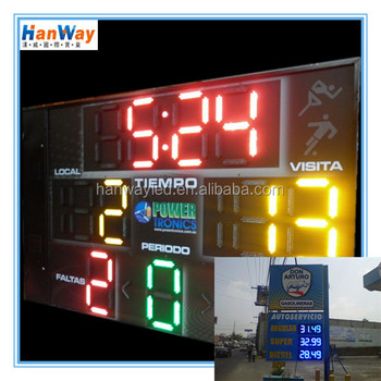 cheap red color 7 segment electronics scoreboard wireless regular gas station led pylon price sign