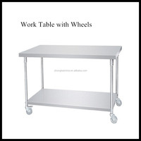Stainless Steel 0.6mm to 1.5mm Thickness High Density Work Table with Wheels