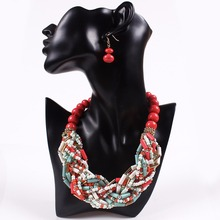 Multi color African Beads Jewelry Sets Colorful Beads Chain Chunky Indian Wedding Necklace Set Weave Crystal Collar Vintage