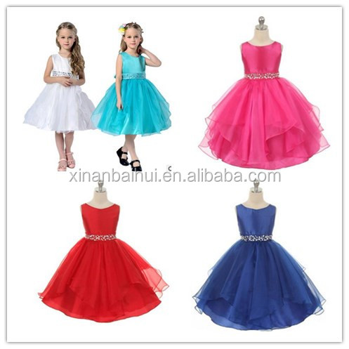 Latest Baby Girl flower Wedding Dress Children Frocks Designs Princess Party Dress Tulle layered princess dress with beads
