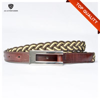 Customized High Quality Dark Brown Elastic Stretch Cotton Braided Belt