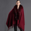 CX-B-P-18F Women Fashion Fur Trim Cashmere Pashmina Shawl With Fur